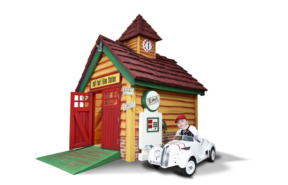 Half fast filling station outdoor luxury kids playhouse for Wooden playhouse with garage